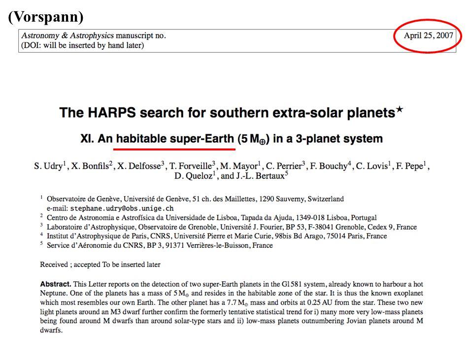 (Vorspann) Erster Exo-Planet 1995: Major & Queloz 1995.