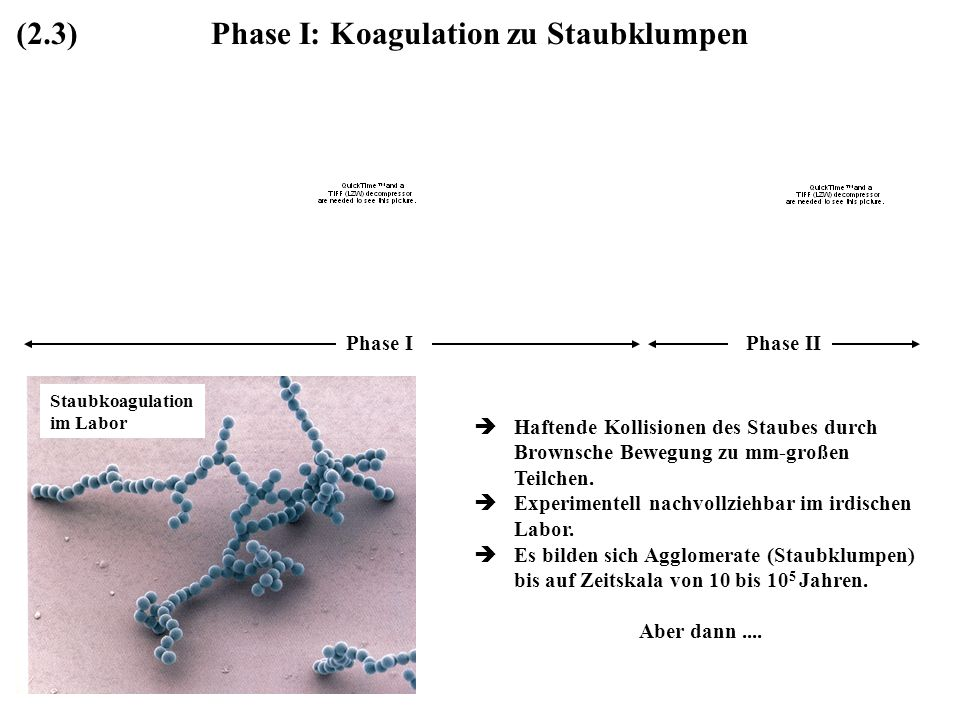 Phase I: Koagulation zu Staubklumpen