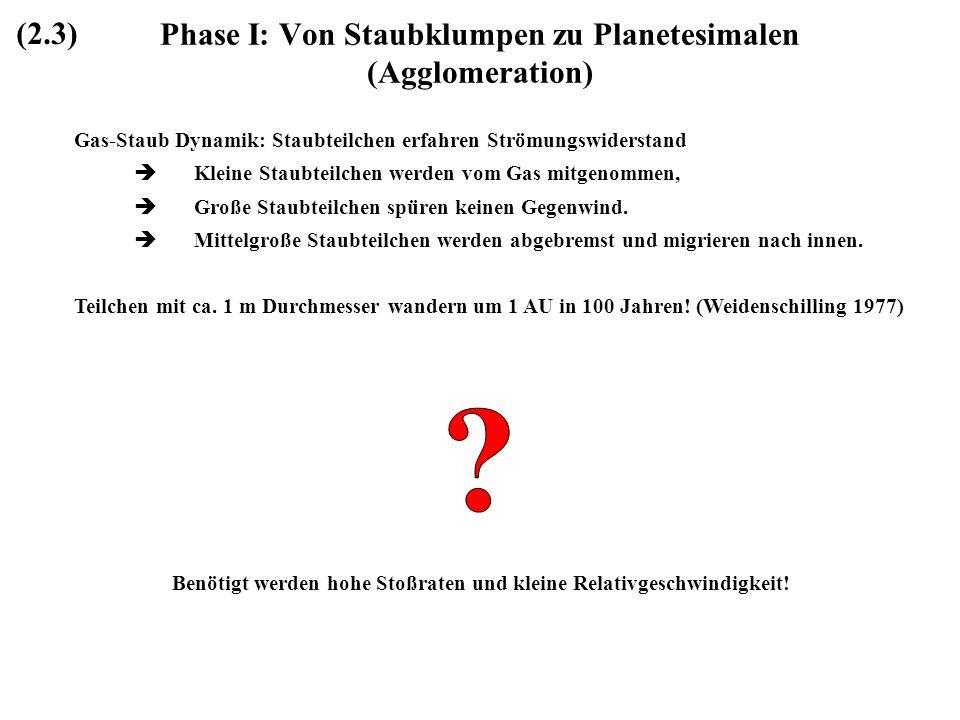Phase I: Von Staubklumpen zu Planetesimalen (Agglomeration)