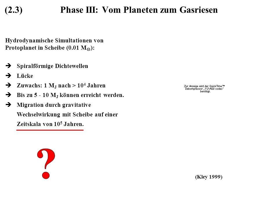 Phase III: Vom Planeten zum Gasriesen