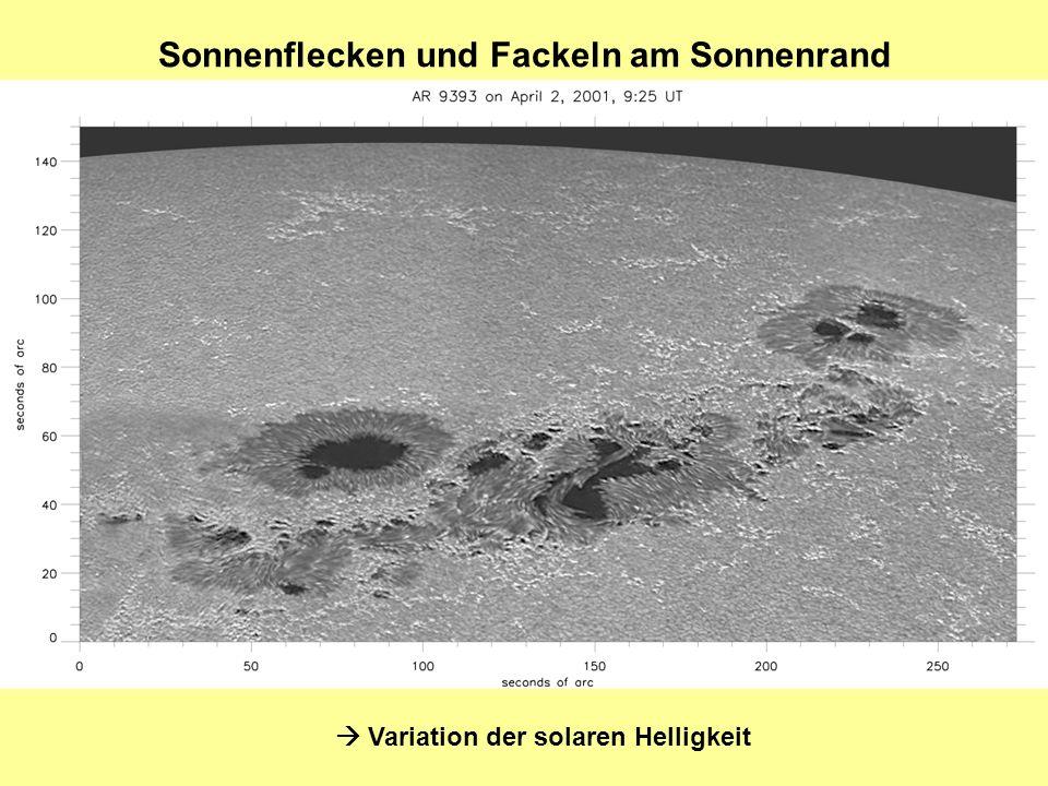 Sonnenflecken und Fackeln am Sonnenrand