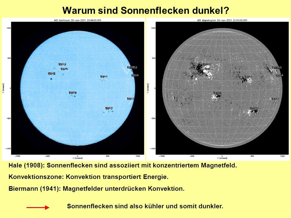 Warum sind Sonnenflecken dunkel