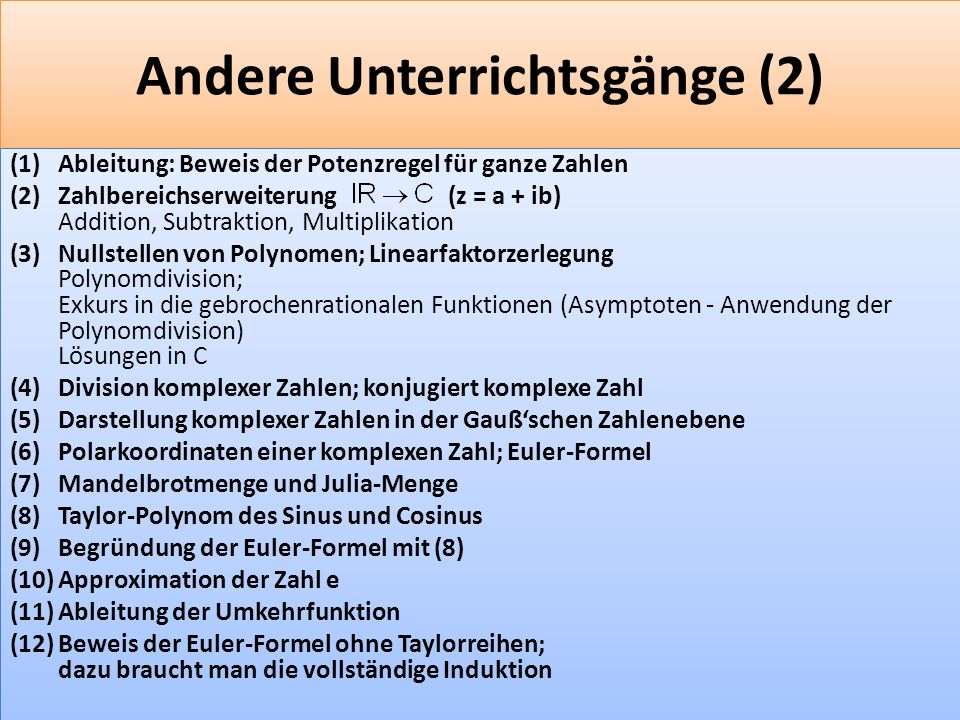 Andere Unterrichtsgänge (2)