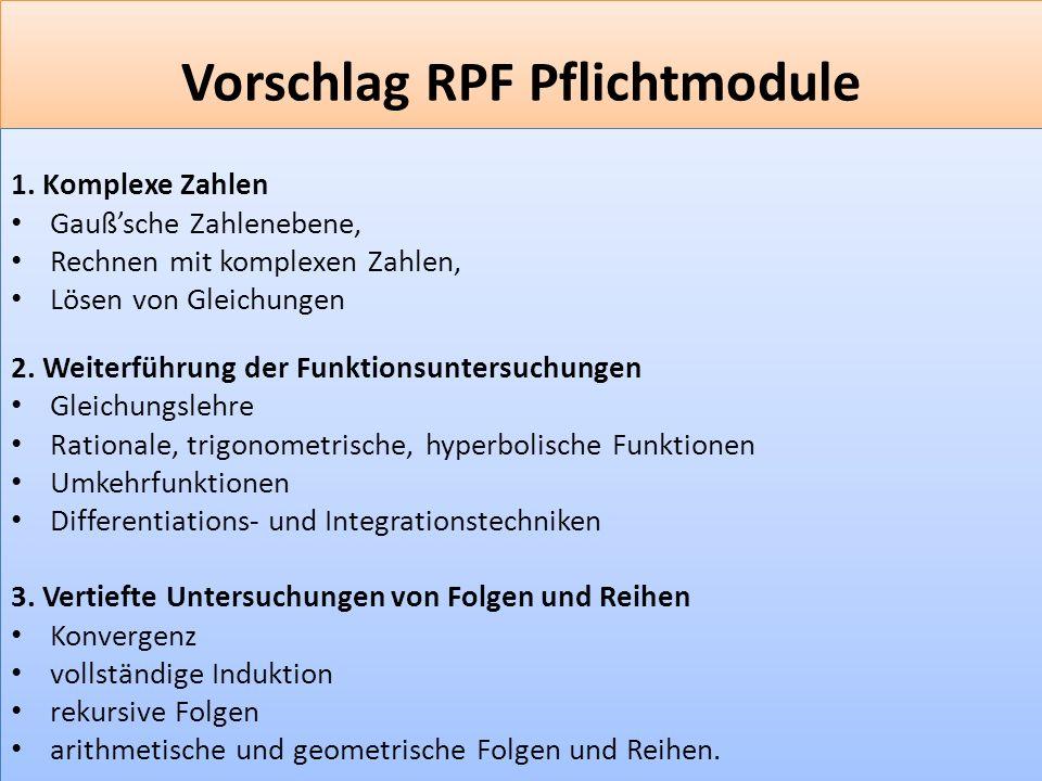 Vorschlag RPF Pflichtmodule