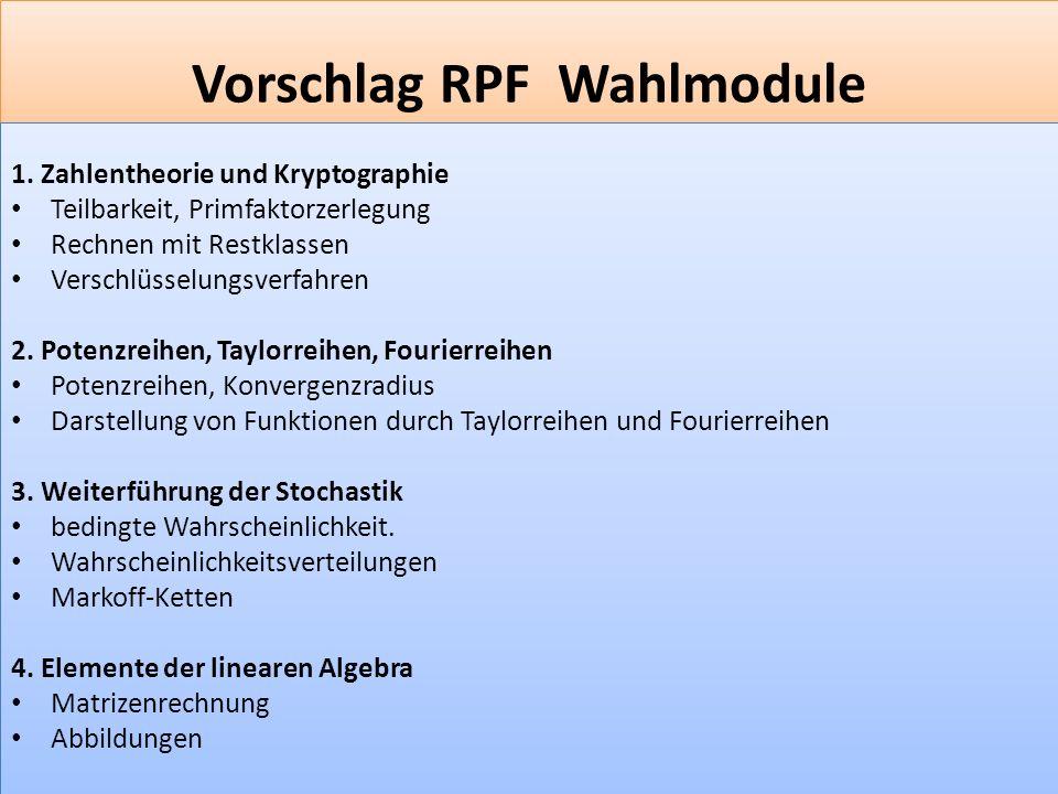 Vorschlag RPF Wahlmodule