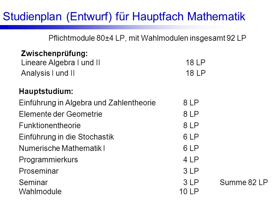 Studienplan (Entwurf) für Hauptfach Mathematik
