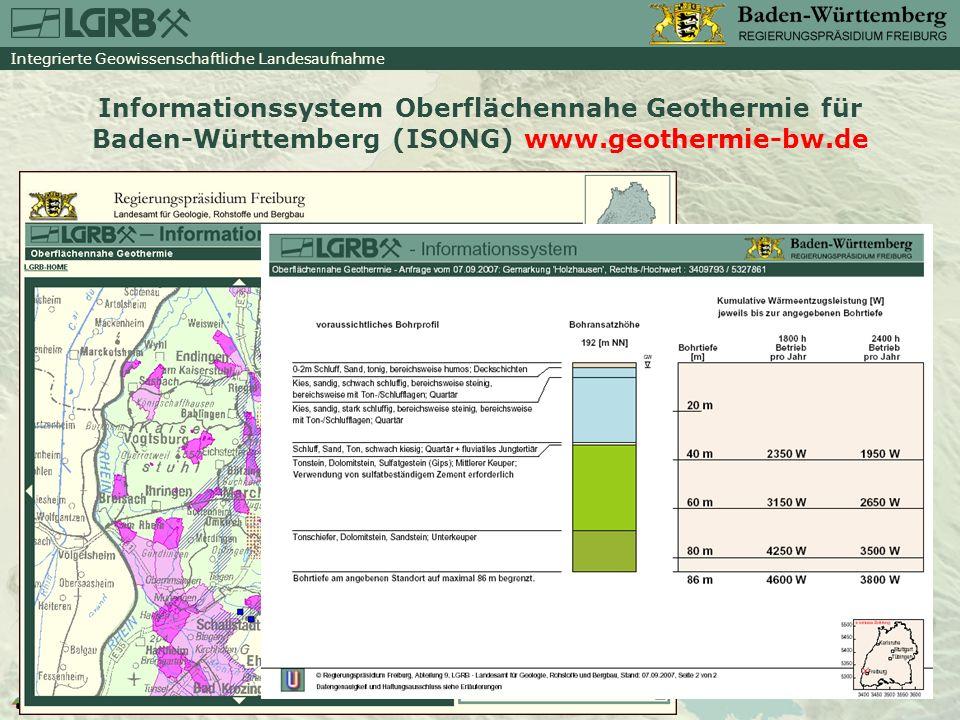 Informationssystem Oberflächennahe Geothermie für Baden-Württemberg (ISONG) www.geothermie-bw.de
