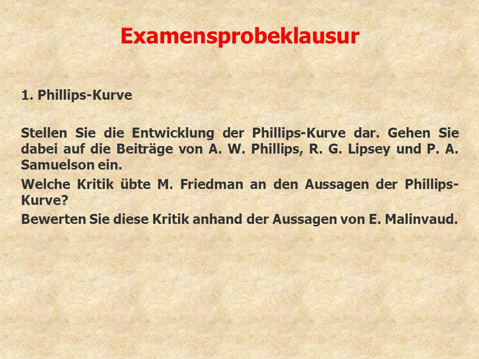 Examensprobeklausur 1. Phillips-Kurve