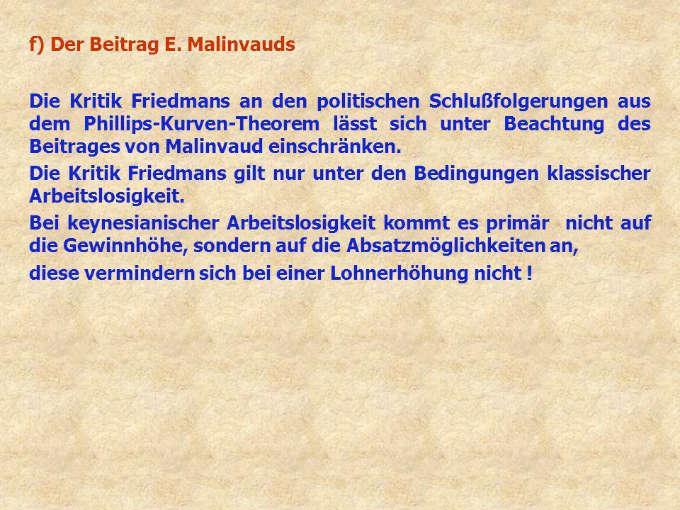 f) Der Beitrag E. Malinvauds