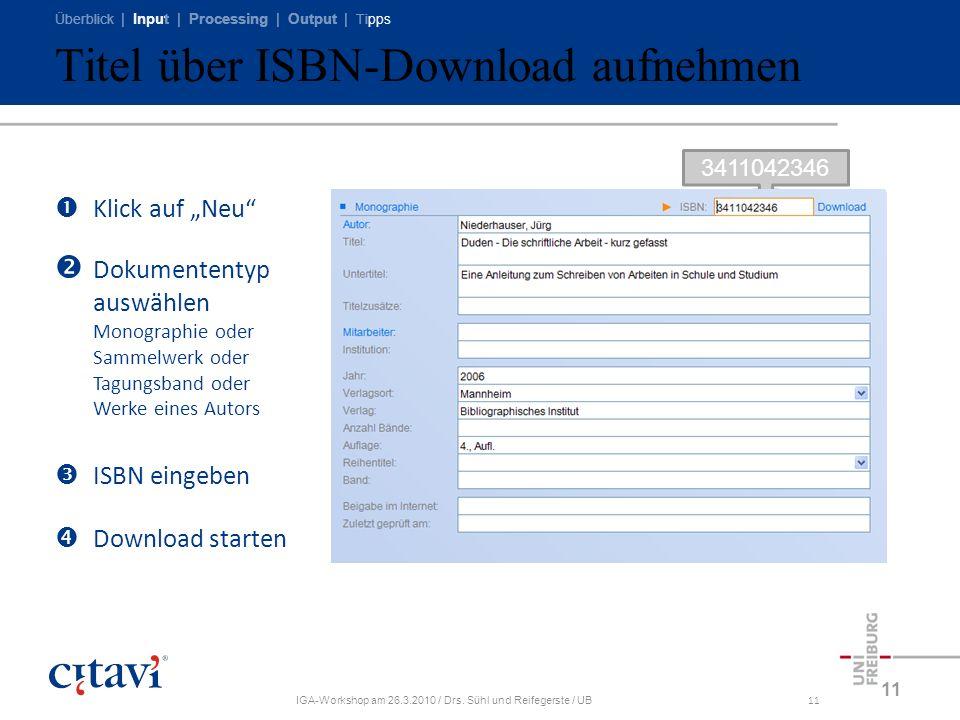 Titel über ISBN-Download aufnehmen