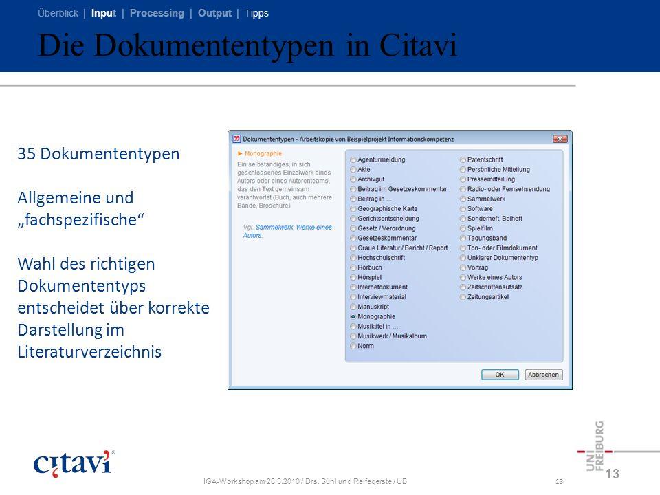 Die Dokumententypen in Citavi