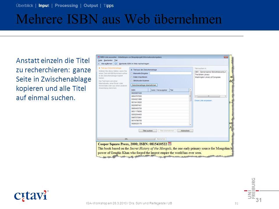 Mehrere ISBN aus Web übernehmen