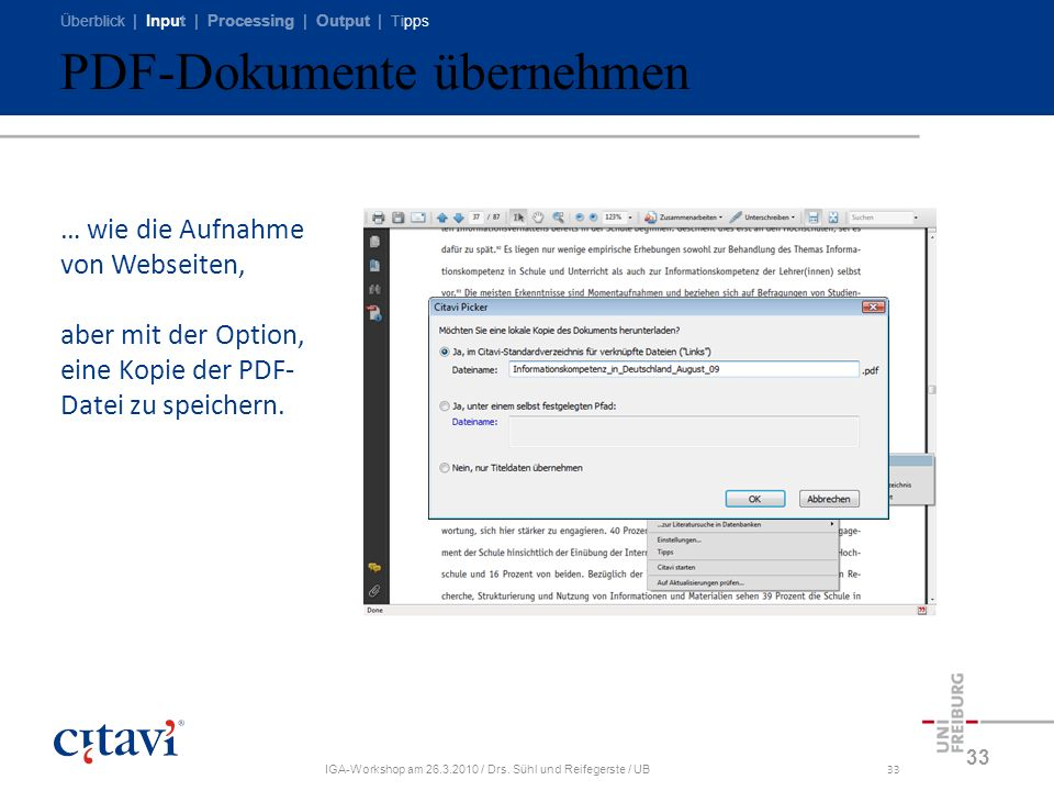 PDF-Dokumente übernehmen
