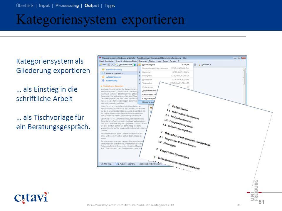 Kategoriensystem exportieren