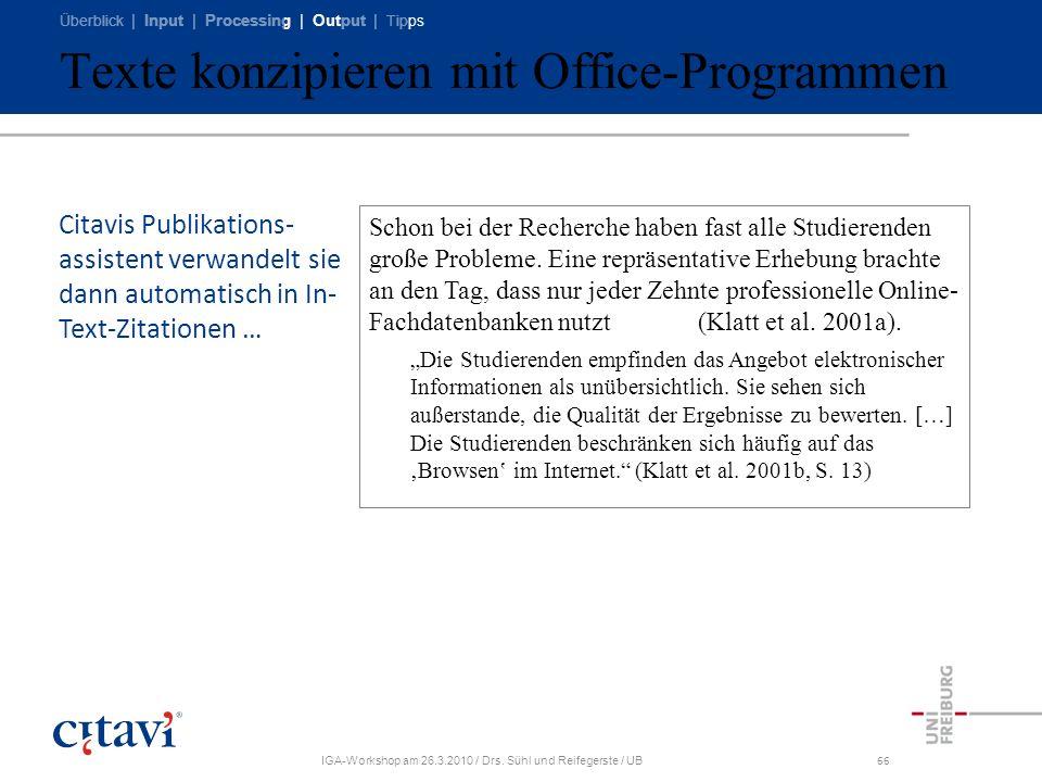 Texte konzipieren mit Office-Programmen
