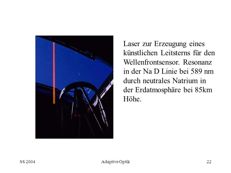 Laser zur Erzeugung eines künstlichen Leitsterns für den Wellenfrontsensor. Resonanz in der Na D Linie bei 589 nm durch neutrales Natrium in der Erdatmosphäre bei 85km Höhe.