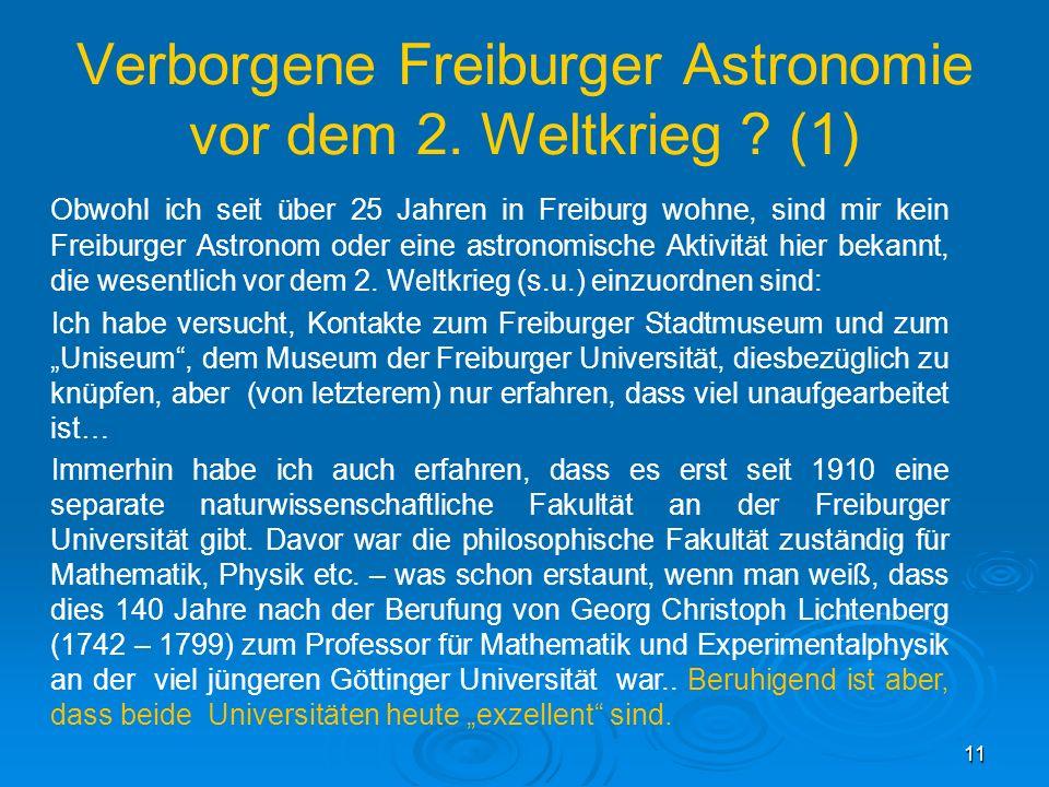 Verborgene Freiburger Astronomie vor dem 2. Weltkrieg (1)