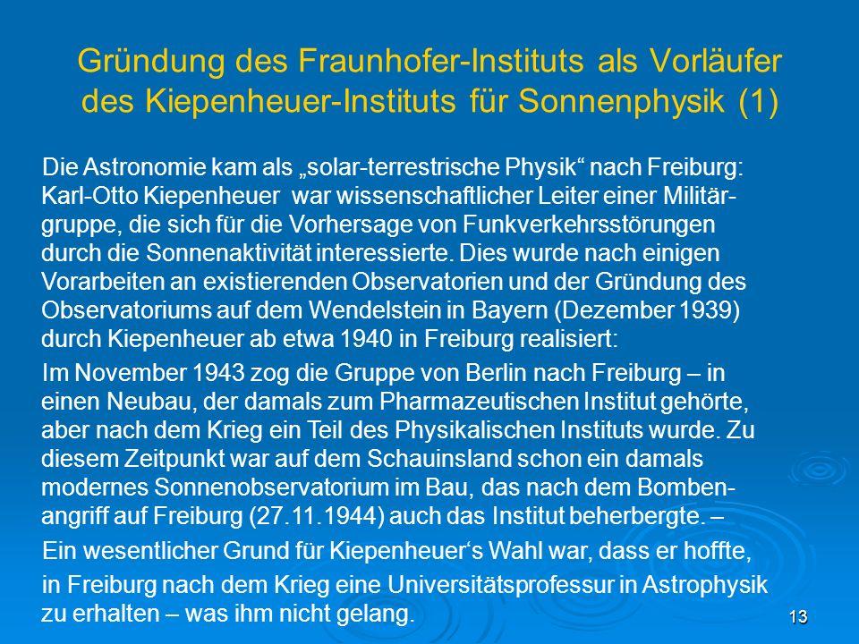 Gründung des Fraunhofer-Instituts als Vorläufer des Kiepenheuer-Instituts für Sonnenphysik (1)
