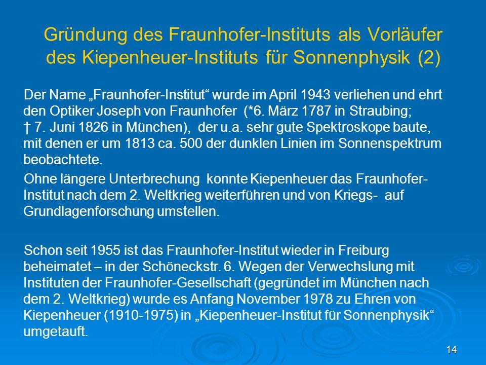 Gründung des Fraunhofer-Instituts als Vorläufer des Kiepenheuer-Instituts für Sonnenphysik (2)