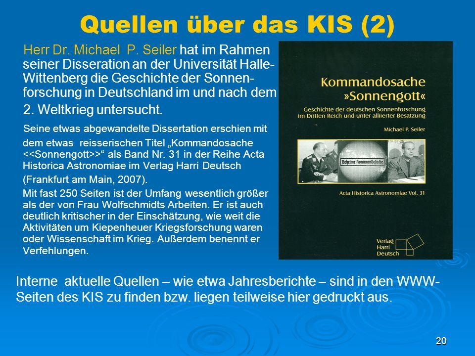 Quellen über das KIS (2)