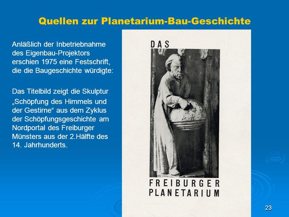 Quellen zur Planetarium-Bau-Geschichte