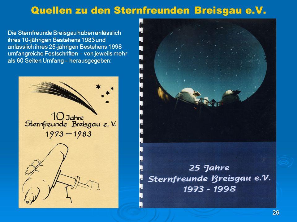 Quellen zu den Sternfreunden Breisgau e.V.