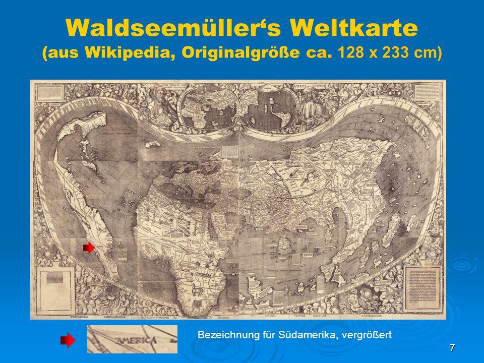 Waldseemüller's Weltkarte (aus Wikipedia, Originalgröße ca