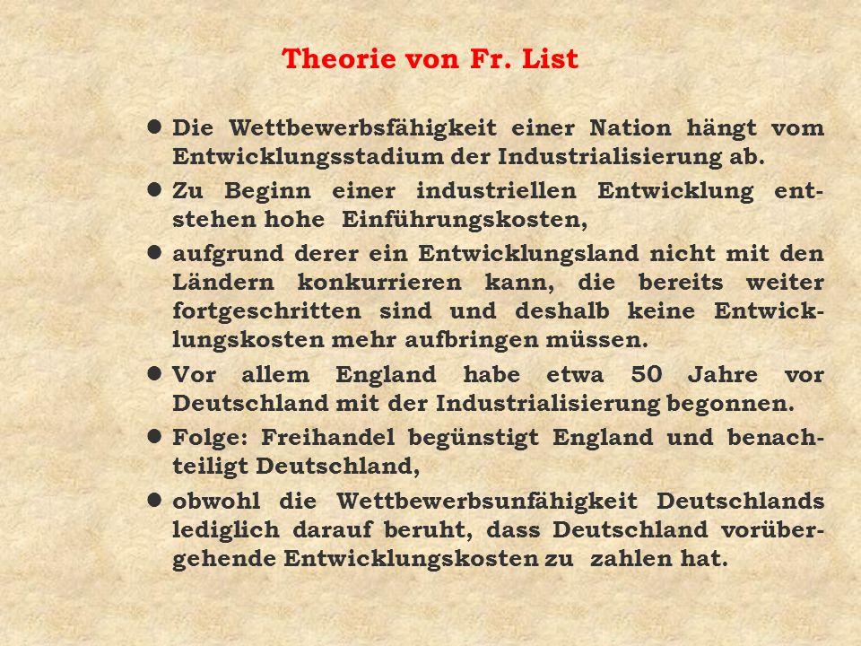 Theorie von Fr. List Die Wettbewerbsfähigkeit einer Nation hängt vom Entwicklungsstadium der Industrialisierung ab.