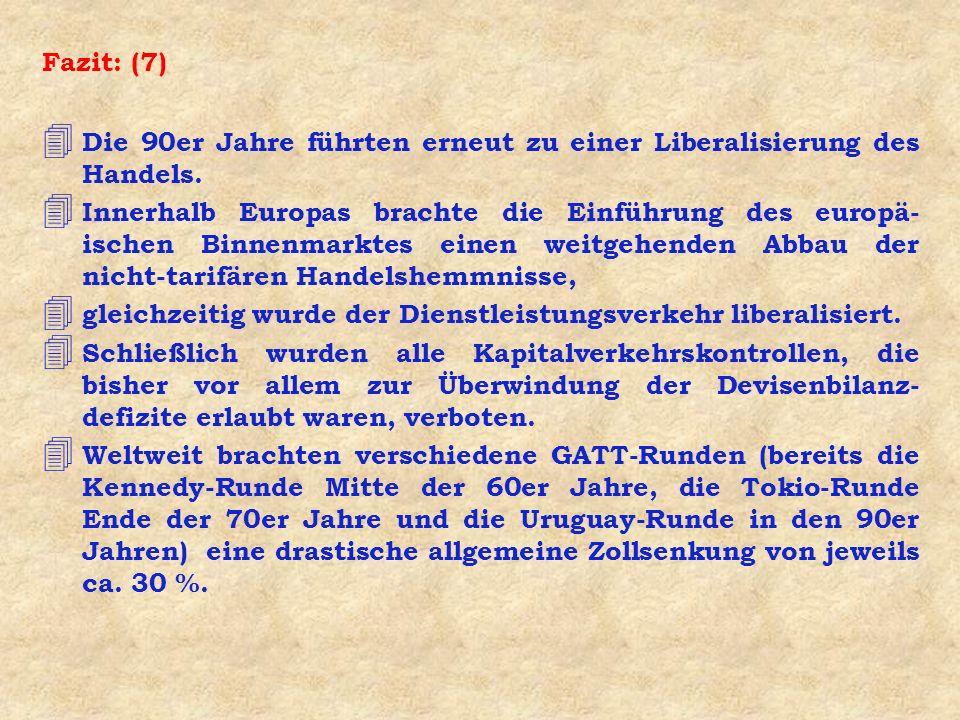 Fazit: (7) Die 90er Jahre führten erneut zu einer Liberalisierung des Handels.