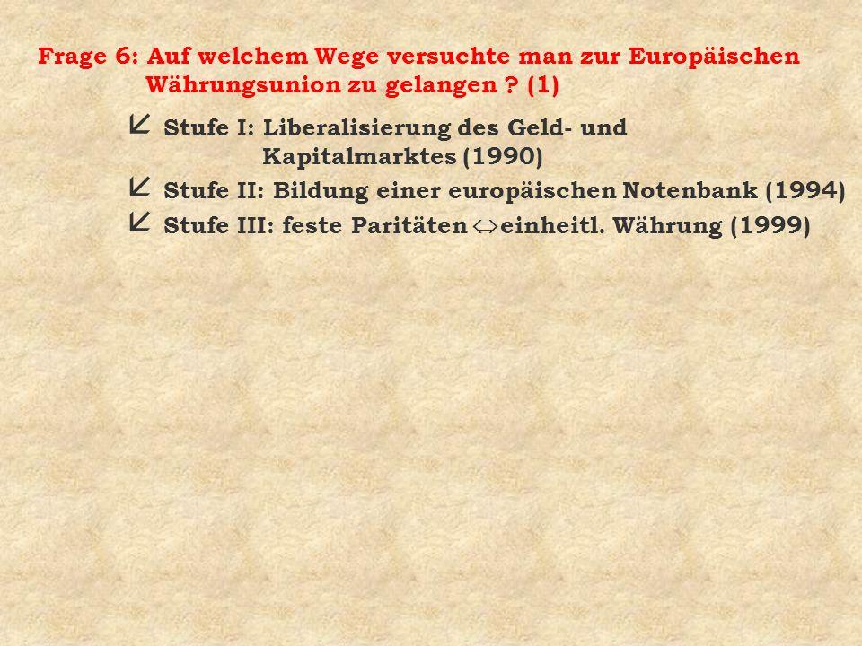 Frage 6: Auf welchem Wege versuchte man zur Europäischen Währungsunion zu gelangen (1)