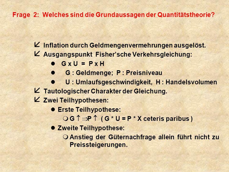 Frage 2: Welches sind die Grundaussagen der Quantitätstheorie