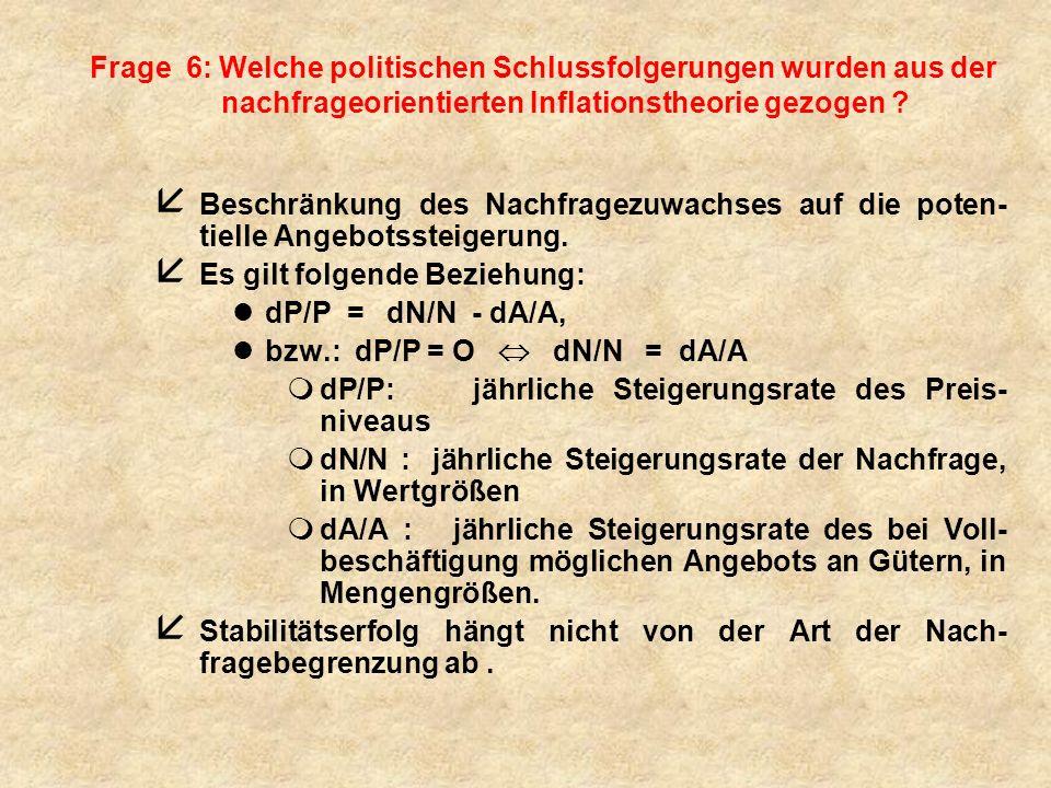 Frage 6: Welche politischen Schlussfolgerungen wurden aus der nachfrageorientierten Inflationstheorie gezogen