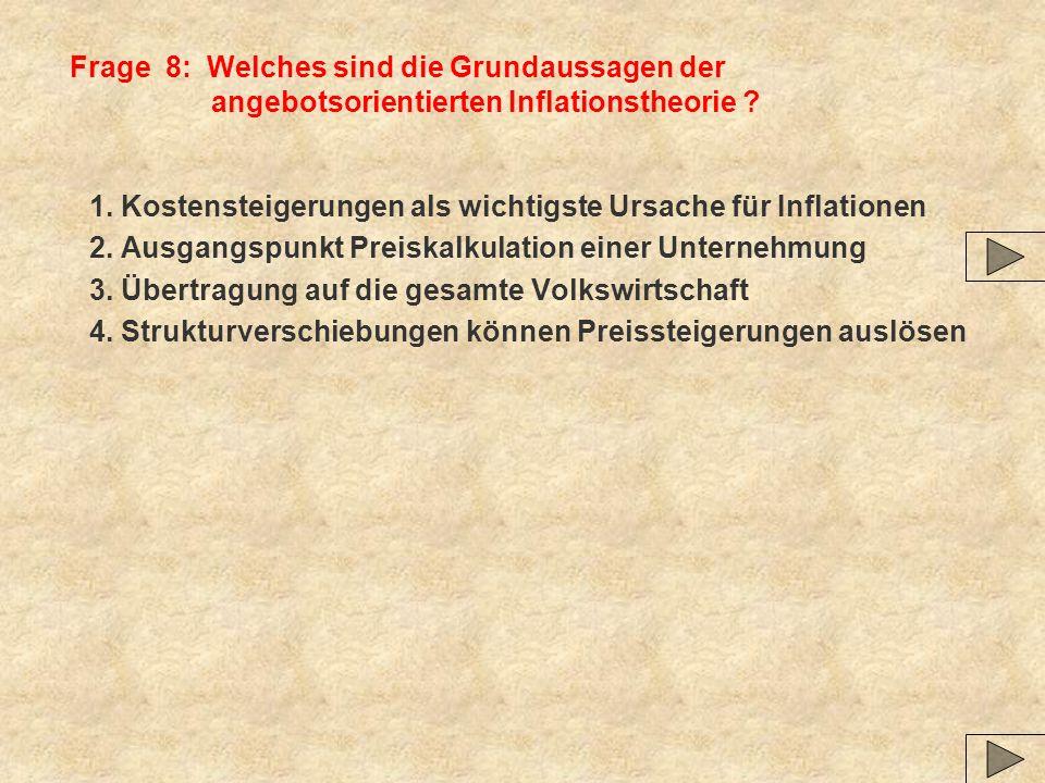 Frage 8: Welches sind die Grundaussagen der angebotsorientierten Inflationstheorie