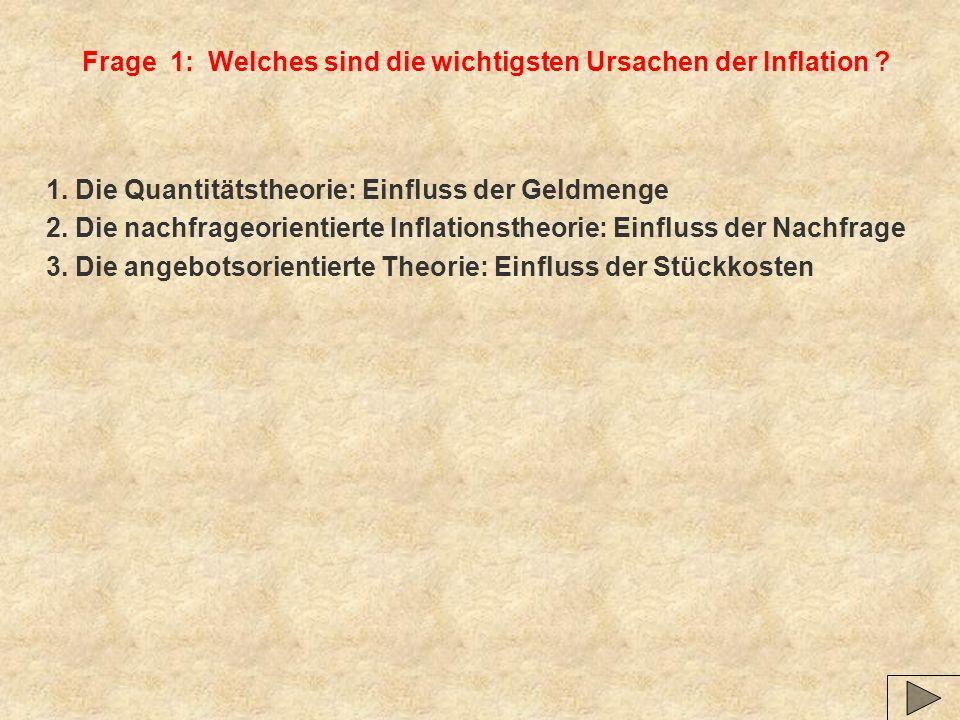 Frage 1: Welches sind die wichtigsten Ursachen der Inflation