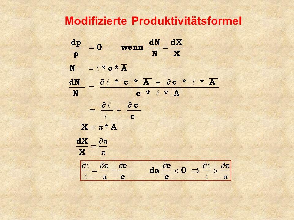 Modifizierte Produktivitätsformel