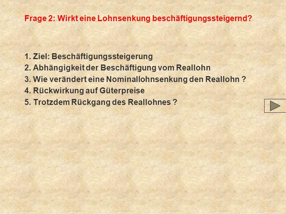 Frage 2: Wirkt eine Lohnsenkung beschäftigungssteigernd