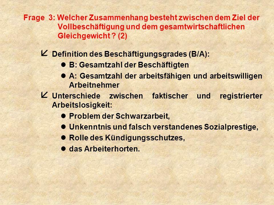 Frage 3: Welcher Zusammenhang besteht zwischen dem Ziel der Vollbeschäftigung und dem gesamtwirtschaftlichen Gleichgewicht (2)