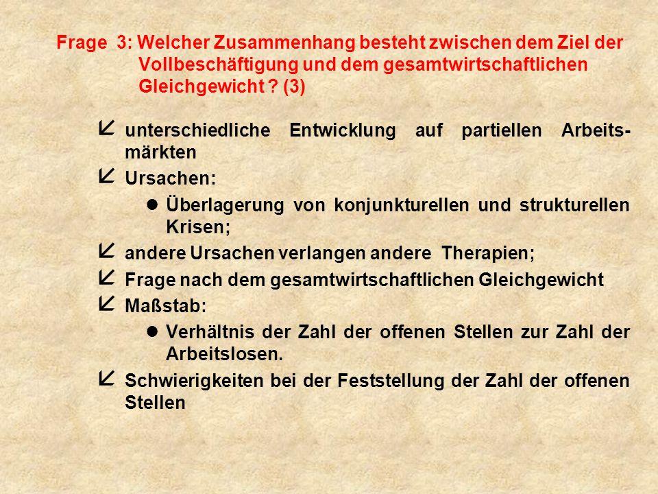 Frage 3: Welcher Zusammenhang besteht zwischen dem Ziel der Vollbeschäftigung und dem gesamtwirtschaftlichen Gleichgewicht (3)