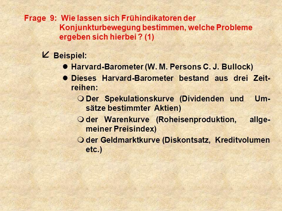 Frage 9: Wie lassen sich Frühindikatoren der Konjunkturbewegung bestimmen, welche Probleme ergeben sich hierbei (1)