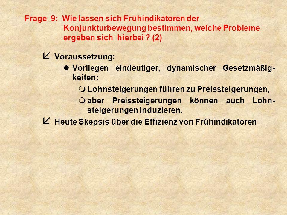 Frage 9: Wie lassen sich Frühindikatoren der Konjunkturbewegung bestimmen, welche Probleme ergeben sich hierbei (2)
