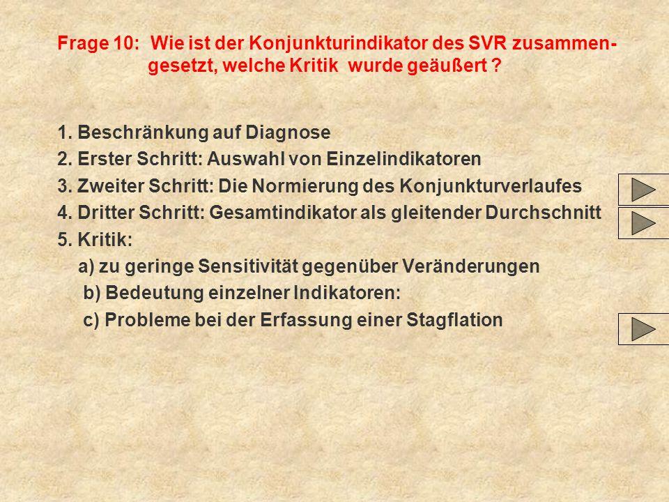 Frage 10: Wie ist der Konjunkturindikator des SVR zusammen-gesetzt, welche Kritik wurde geäußert