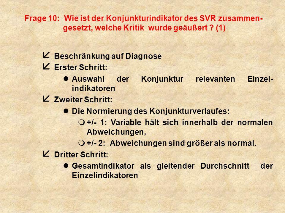 Frage 10: Wie ist der Konjunkturindikator des SVR zusammen-gesetzt, welche Kritik wurde geäußert (1)