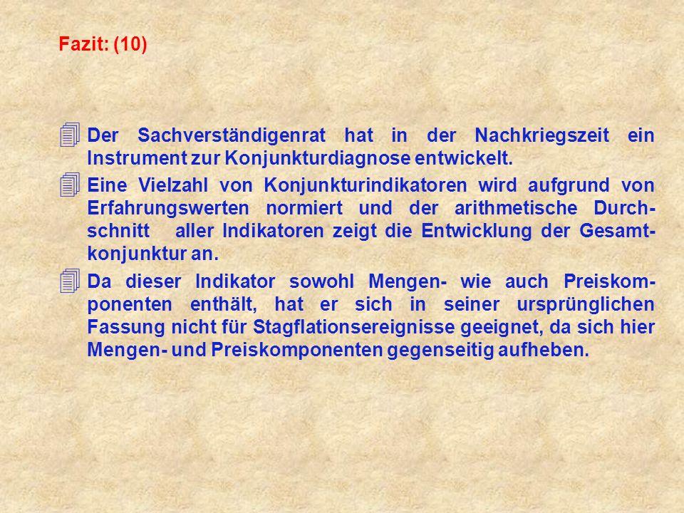 Fazit: (10) Der Sachverständigenrat hat in der Nachkriegszeit ein Instrument zur Konjunkturdiagnose entwickelt.