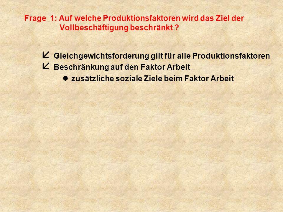 Frage 1: Auf welche Produktionsfaktoren wird das Ziel der Vollbeschäftigung beschränkt