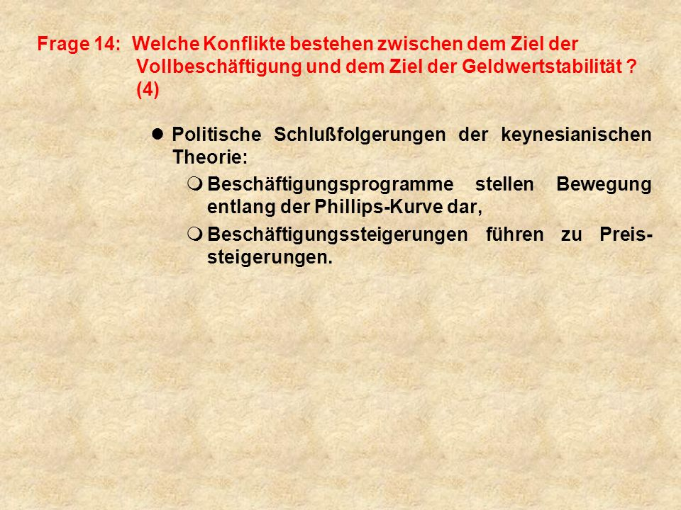 Frage 14: Welche Konflikte bestehen zwischen dem Ziel der Vollbeschäftigung und dem Ziel der Geldwertstabilität (4)