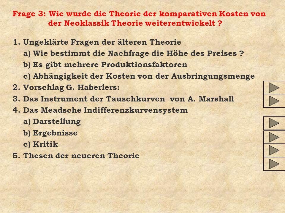 Frage 3: Wie wurde die Theorie der komparativen Kosten von der Neoklassik Theorie weiterentwickelt
