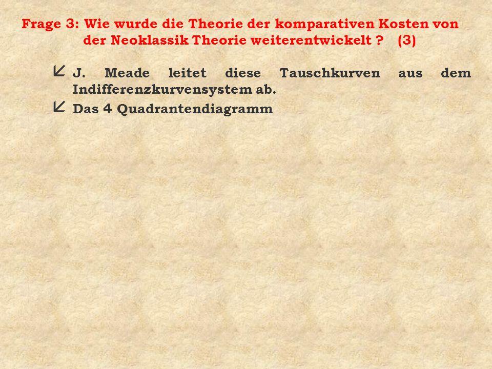 Frage 3: Wie wurde die Theorie der komparativen Kosten von der Neoklassik Theorie weiterentwickelt (3)