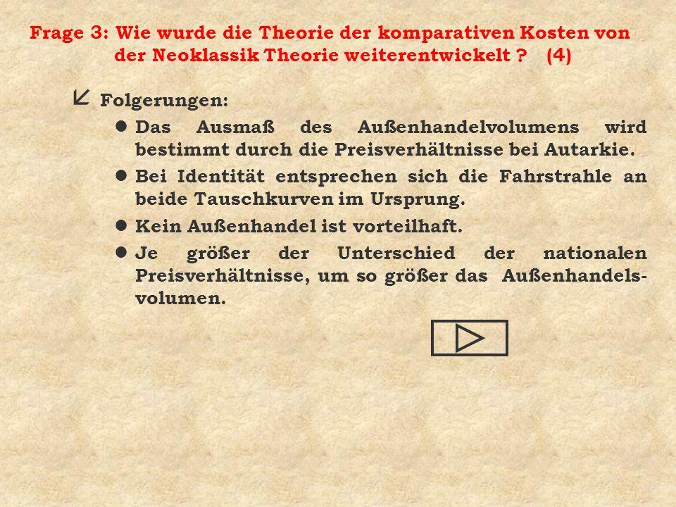 Frage 3: Wie wurde die Theorie der komparativen Kosten von der Neoklassik Theorie weiterentwickelt (4)