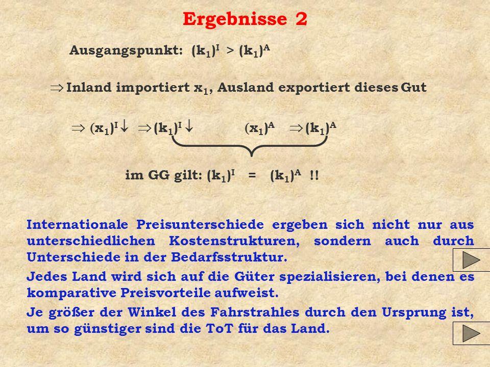 Ergebnisse 2 Ausgangspunkt: (k1)I > (k1)A