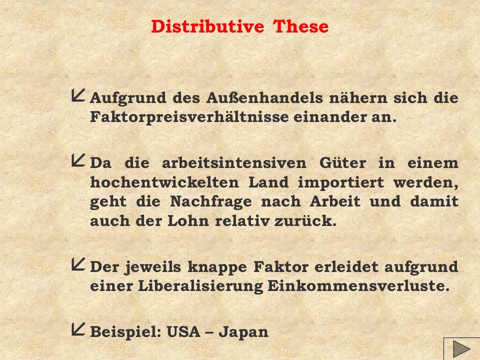 Distributive TheseAufgrund des Außenhandels nähern sich die Faktorpreisverhältnisse einander an.